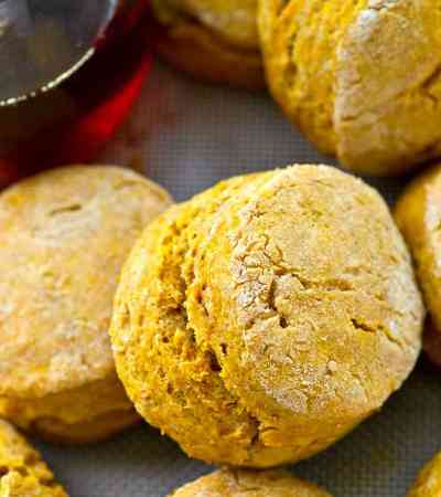 Packed with tons of pumpkin spice flavors and maple syrup, these flaky fall biscuits are incredible next to a hot bowl of chili!