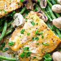 Lemon Garlic Parmesan Baked Salmon with Green Beans + Mushrooms