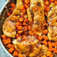 Maple-Glazed Skillet Chicken Breasts with Sweet Potato Hash