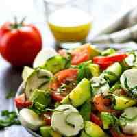 Italian Mozzarella Cucumber Tomato Avocado Salad