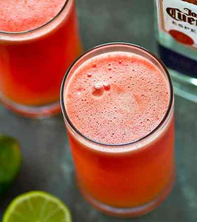 The easiest weekend party sipper ever! These sparkling watermelon lime margarita slushies are quick to blend up and the best use for any leftover watermelon!
