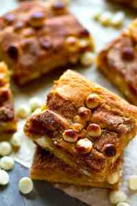 Browned butter, gooey white chocolate, and plenty of cinnamon sugar on top make these snickerdoodle blondies ULTIMATELY chewy and you will be instantly obsessed!
