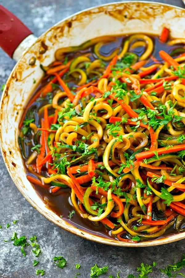 Made-from-scratch teriyaki sauce transforms this one-pot veggie noodles skillet into a flavorful and sneakily-healthy dinner side! You won't even miss the regular noodles.