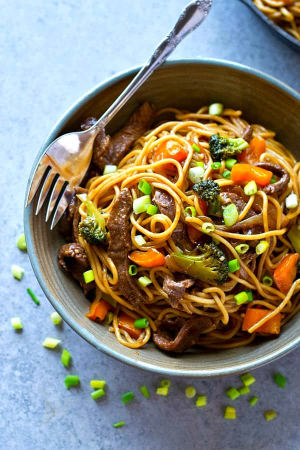 Ready in 30 minutes and packed with tons of juicy beef, tender veggies, and a killer teriyaki sauce, this beef teriyaki noodle stir-fry will quickly become a regular dinner routine!