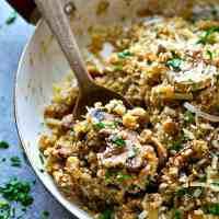 Balsamic Mushroom Parmesan Quinoa Skillet