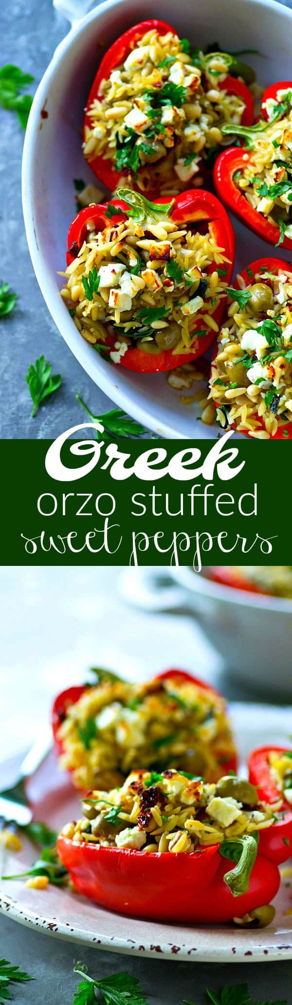 Stuffed with a flavor-packed orzo filling, these summery Greek orzo stuffed sweet peppers are a fun change from the usual stuffed peppers and SO easy to throw together!