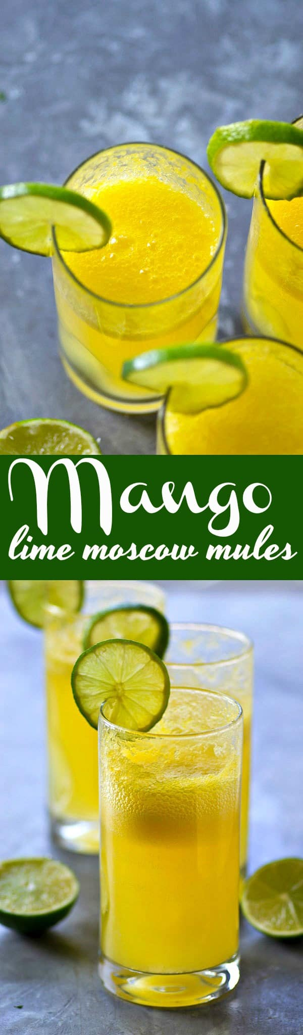 These mango lime moscow mules are a refreshing tropical twist on a classic! Only four ingredients needed and they're SO easy to mix up for a winner weekend sipper.