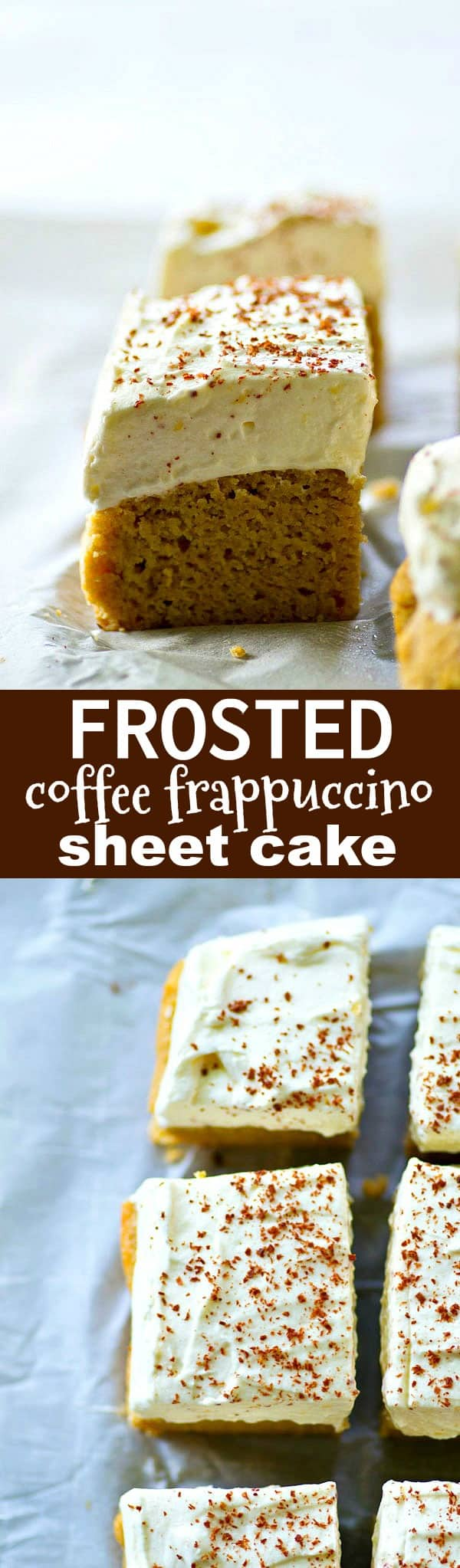 Coffee lovers are going to ADORE this frosted coffee frappuccino sheet cake! It's big on the coffee flavor and frosted high with a whipped cream cheese frosting. (gluten-free and THM-friendly)