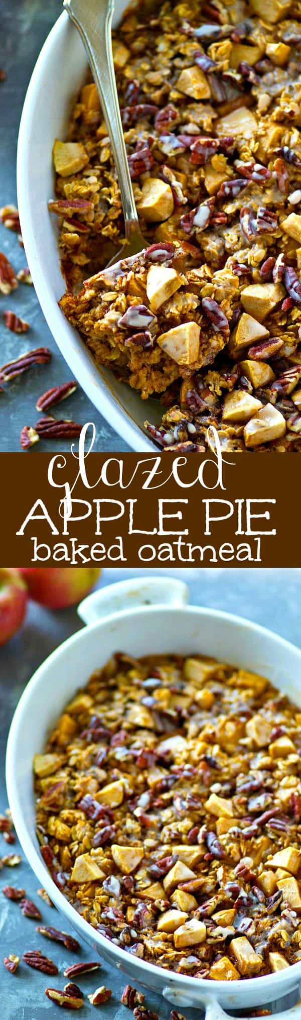You'll find all the apple pie fixins' in this decadent glazed baked oatmeal! Tender apples, crunchy pecans, and sweet glaze make it the ultimate (and easiest!) morning oatmeal.