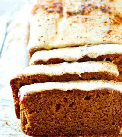 Browned butter in both the frosting and the bread adds SO much rich flavor to this frosted browned butter pumpkin bread! Soon to become your go-to pumpkin bread recipe.