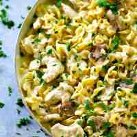 One-Pot Lighter Chicken Stroganoff