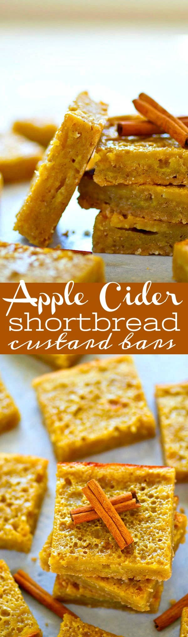 These apple cider shortbread custard bars sing fall flavors in every bite! Buttery shortbread crust and sweet apple cider custard filling is the most irresistible combo.
