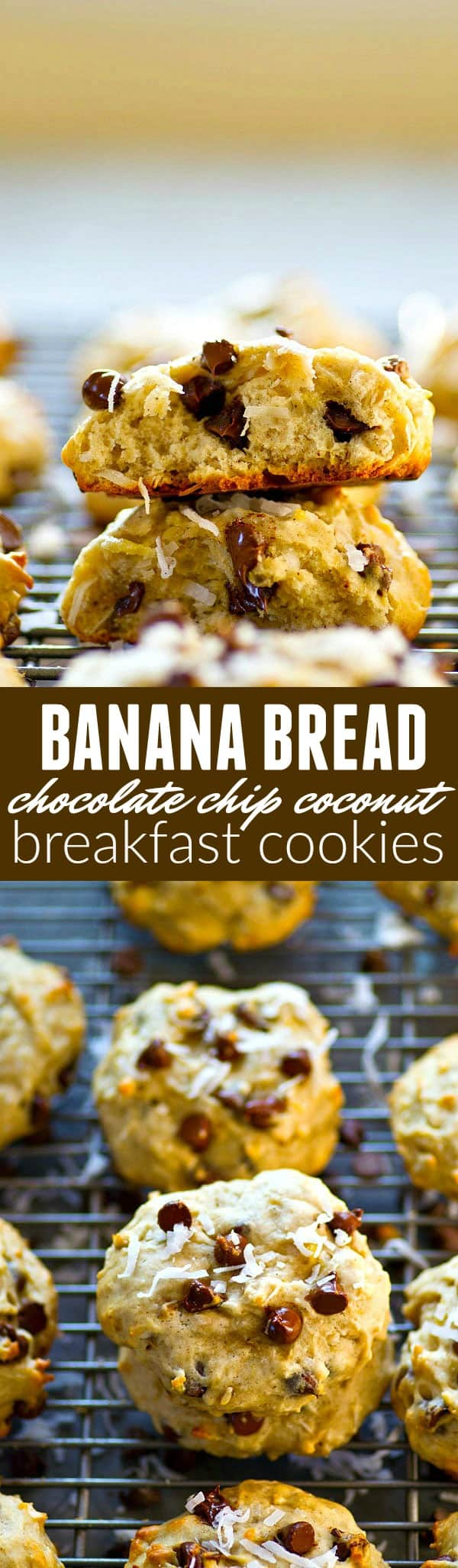 Soft, cake-like banana bread chocolate chip coconut breakfast cookies have a texture that's a dead ringer for banana bread all rolled up into one incredible breakfast cookie!