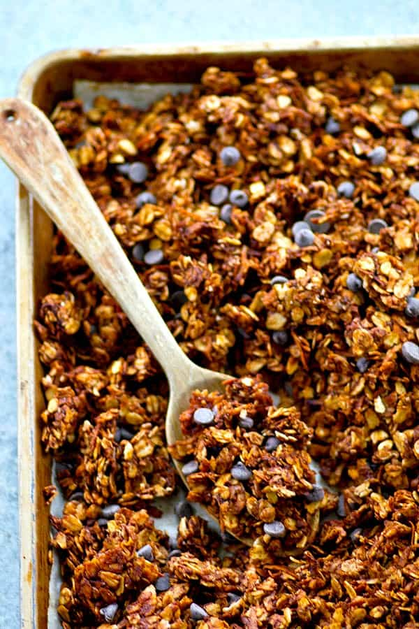 A double-whammy of chocolate and homemade chai spice are the perfect couple in this big-cluster double chocolate chai spice granola! It's nearly impossible to stop eating.
