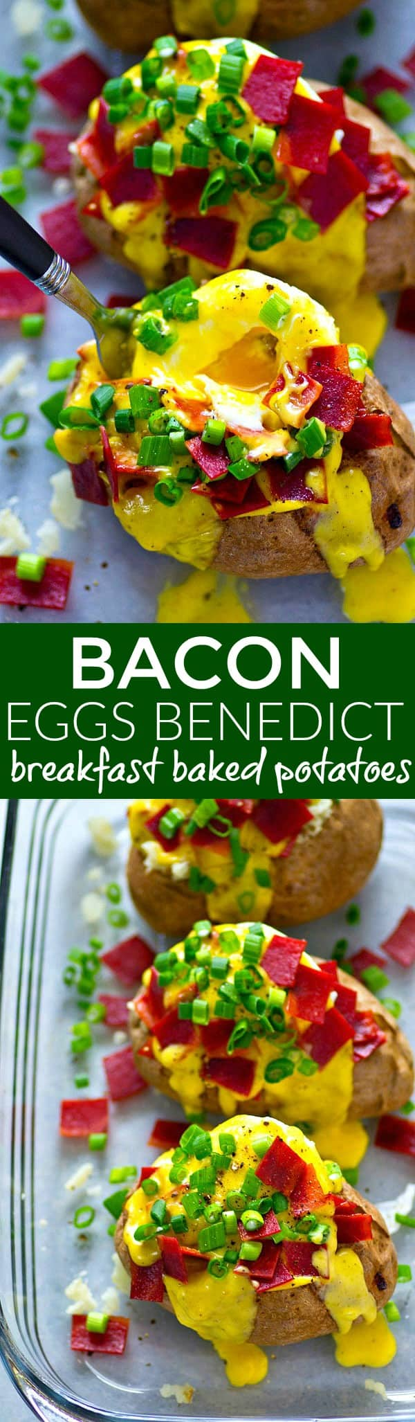 Anyone who loves eggs benedict is going to go CRAZY for these bacon eggs benedict breakfast baked potatoes! Packed with all the fixins' and homemade hollandaise sauce.