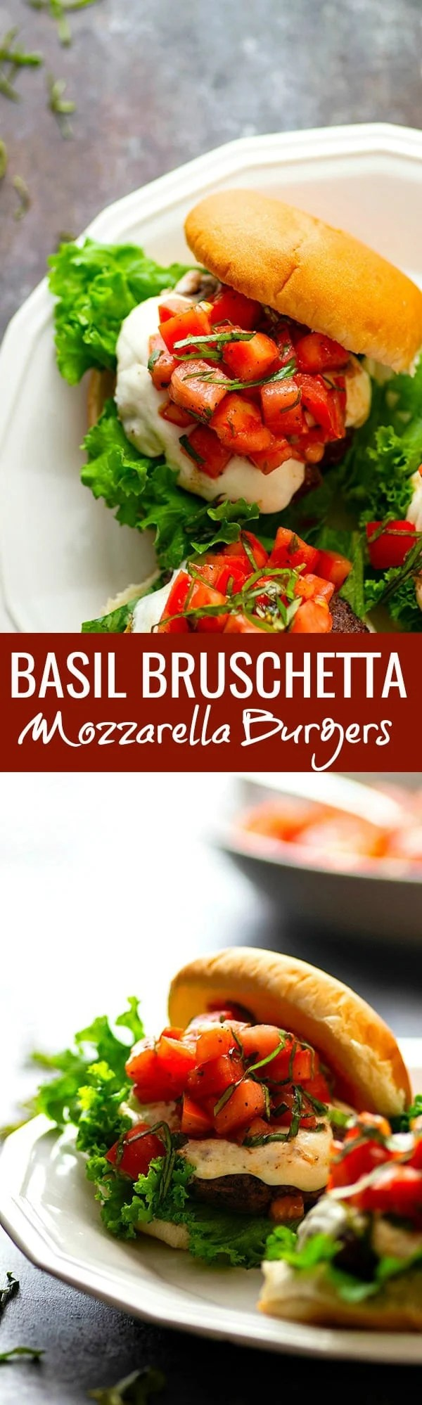 Basil Bruschetta Mozzarella Burgers - Juicy, melty mozzarella burgers are piled high with a flavorful basil bruschetta topping for the BEST summer burger any cookout could ask for!