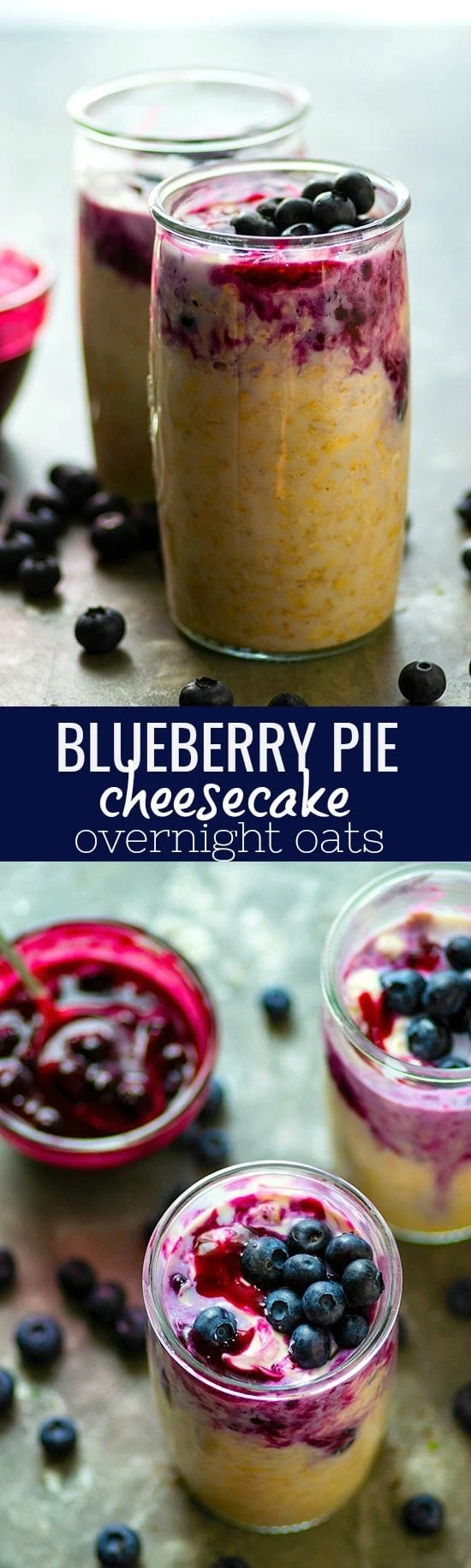 Blueberry Pie Cheesecake Overnight Oats - A juicy blueberry pie filling and a ribbon of cheesecake transform overnight oats into an indulgent breakfast treat! These blueberry pie cheesecake overnight oats will become a morning staple.