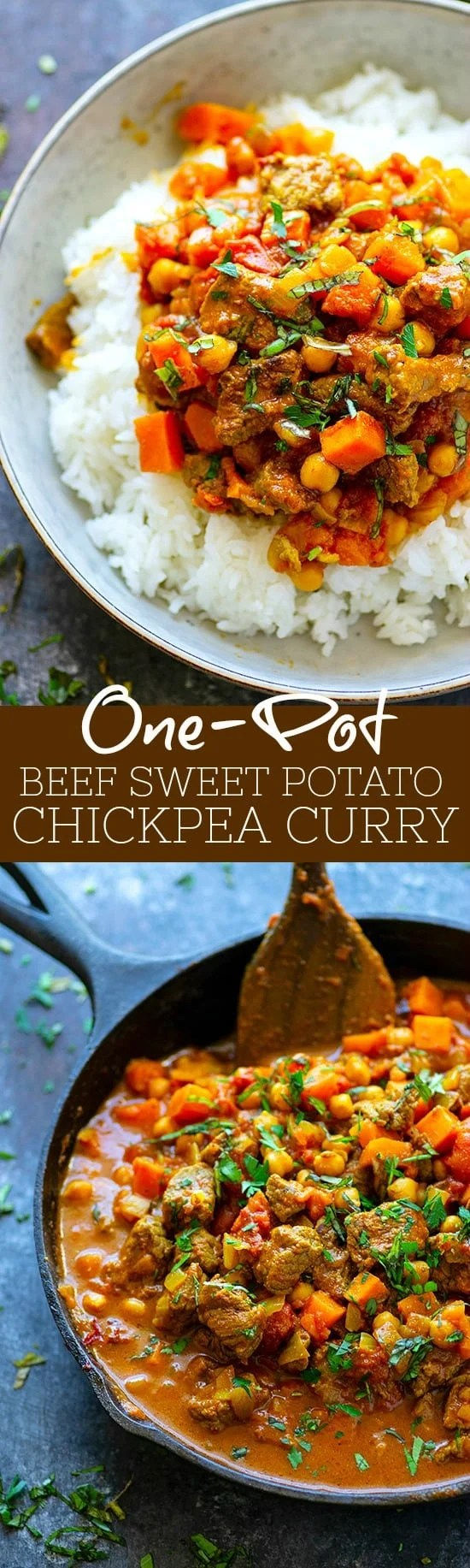 One-Pot Beef Sweet Potato Chickpea Curry - Tender sweet potatoes and melt-in-your-mouth beef  paired with tons of cozy curry spices make this one-pot beef sweet potato chickpea curry one for the dinner record books!