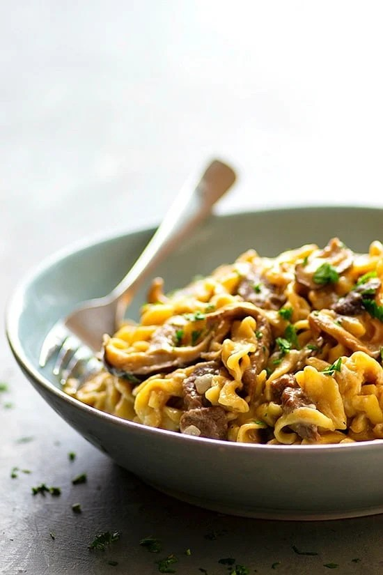 Instant Pot Shiitake Mushroom Beef Stroganoff - Made ENTIRELY in the instant pot in less than 30 minutes and a dead ringer for the real thing, this shiitake mushroom beef stroganoff is the easy comfort food you NEED!
