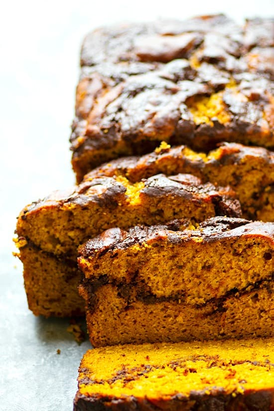 Pumpkin Mocha Swirl Quick Bread - Incredibly soft and loaded with fall flavors, this pumpkin mocha swirl quick bread is one for the fall record books! Nothing beats that luscious swirl of mocha.