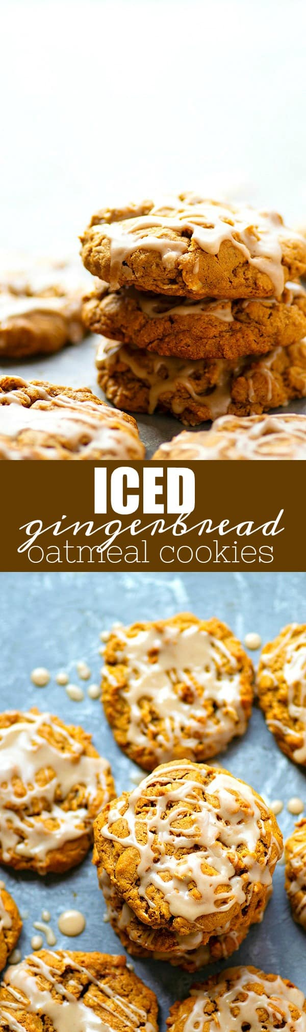 Iced Gingerbread Oatmeal Cookies - Packed with irresistible gingerbread flavors, super chewy, and draped in sweet vanilla icing, these iced gingerbread oatmeal cookies are a holiday cookie tray necessity!