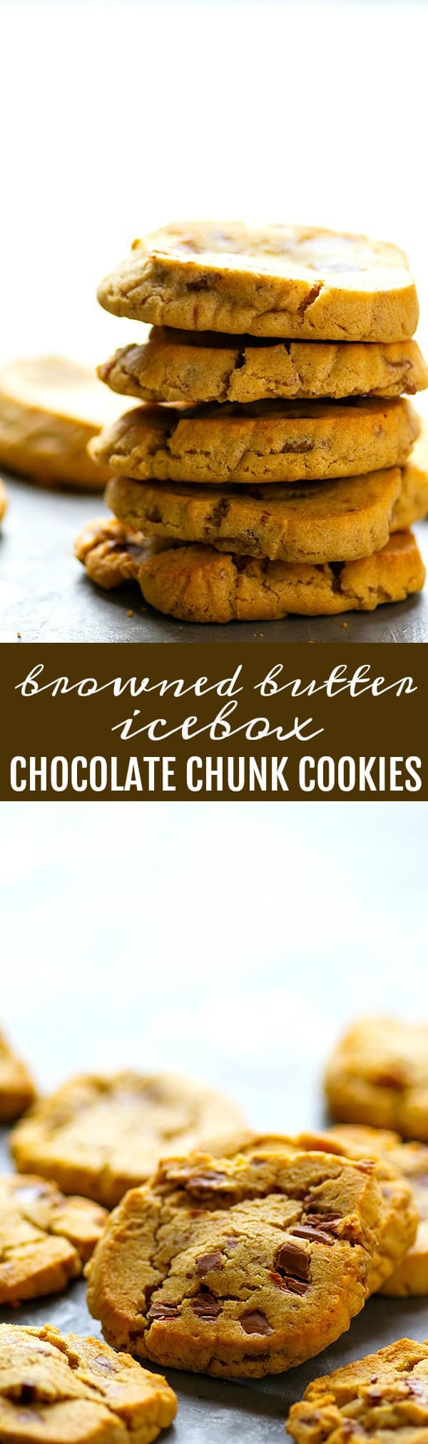 Browned Butter Icebox Chocolate Chunk Cookies - Browned butter and a long dough chilling are the secrets behind what make these browned butter icebox chocolate chunk cookies SO incredibly addicting!