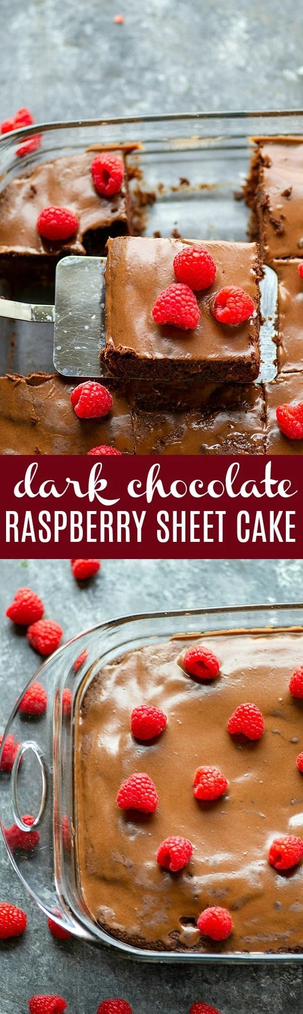 Dark Chocolate Raspberry Sheet Cake - Dark chocolate and raspberries are a match made in heaven in this beautiful dark chocolate raspberry sheet cake.