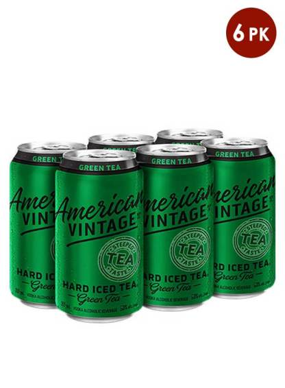 American Vintage iced Green tea 6 pack cans