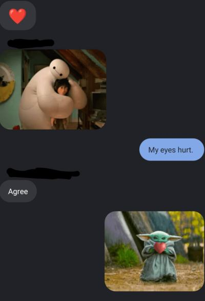 Screenshot of group chat gifs, but this time, it's hugs and love and admitting we've been crying a lot.