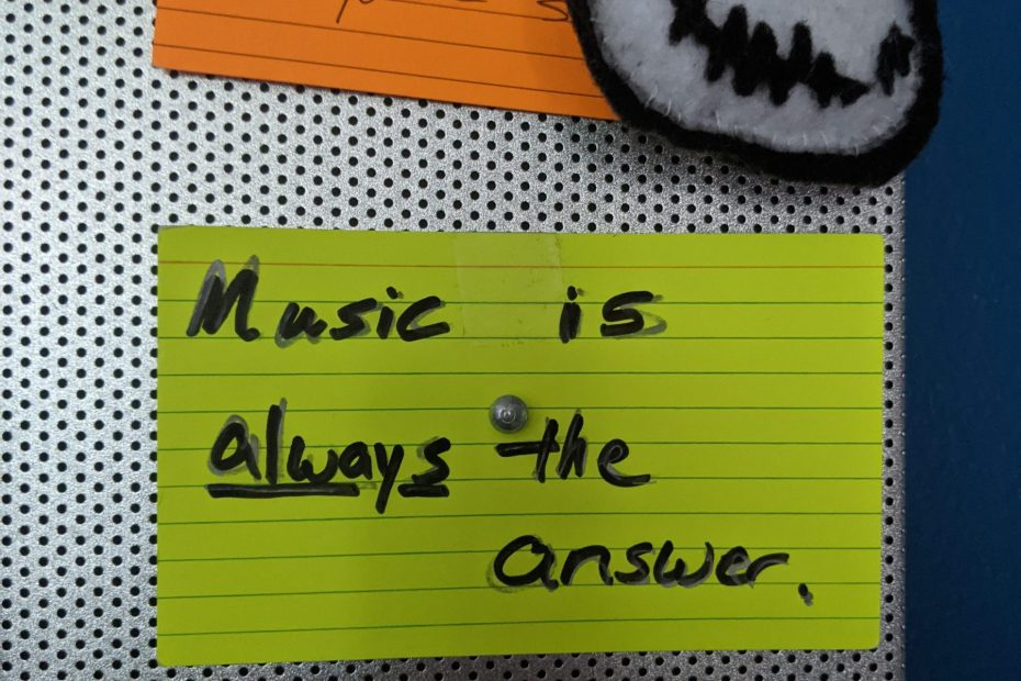 """My pinboard with the """"music is always the answer"""" index card on it."""