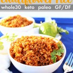 Mexican Cauliflower Rice - This Whole30, Paleo, Keto, gluten-free dairy-free mexican rice is an awesome veggie side dish to any taco Tuesday or burrito bowl!