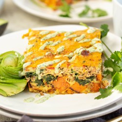 Whole30 Taco Breakfast Casserole - Paleo, Gluten-free, Dairy-free, nut-free, Keto options. Easy meal prep and freezes great!