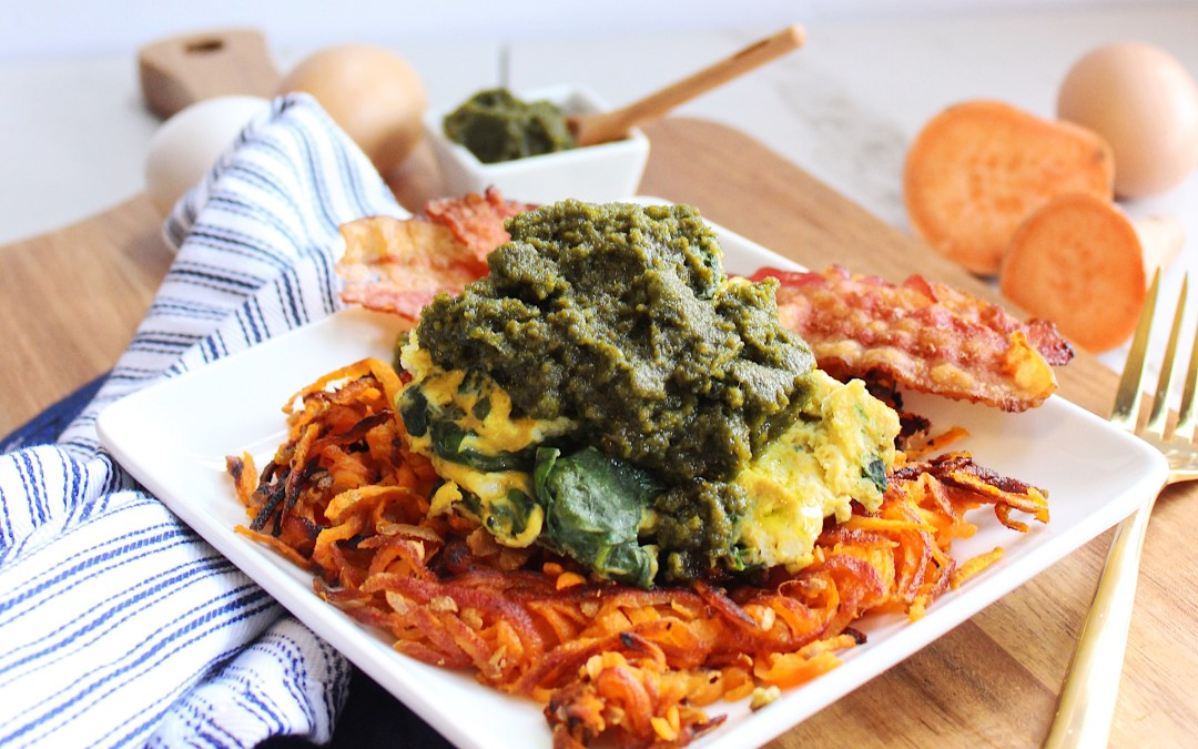 Pesto Spinach Eggs with Sweet Potato Hashbrowns