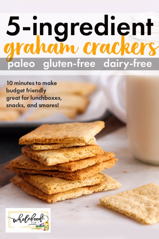 Paleo Graham Crackers - Only 5-ingredient make these clean crackers an easy delicious option! Gluten-free and dairy-free, these are a fabulous snack or lunchbox option and are awesome for s'mores! Budget friendly and only takes 10 minutes to make.