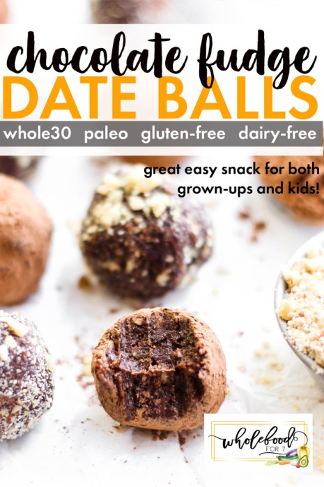 Chocolate Fudge Date Balls - These Whole30, Paleo, gluten-free, dairy-free with nut-free option date balls make an awesome easy snack! No bake, and kid & freezer friendly!