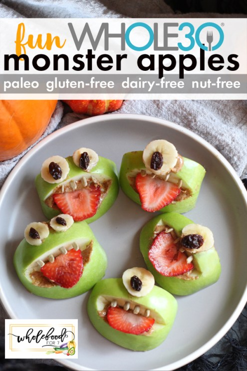 Whole30 Monster Apples - Paleo, gluten-free, dairy-free, with nut-free option. A fun Halloween or snack time food!