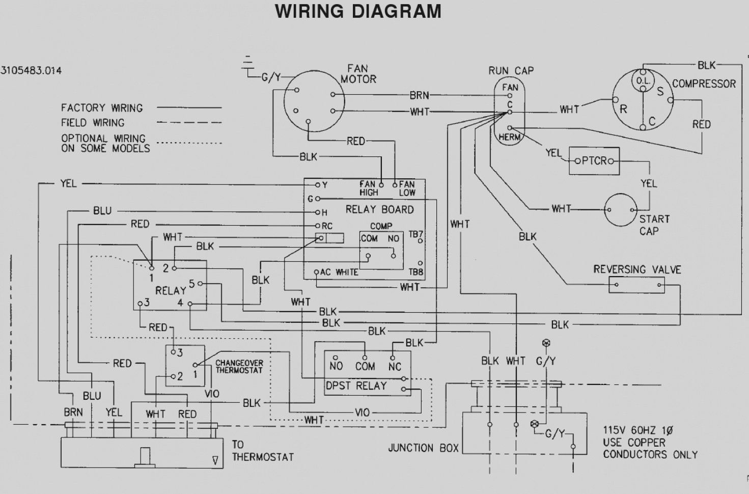 wiring diagram for a fridge thermostat