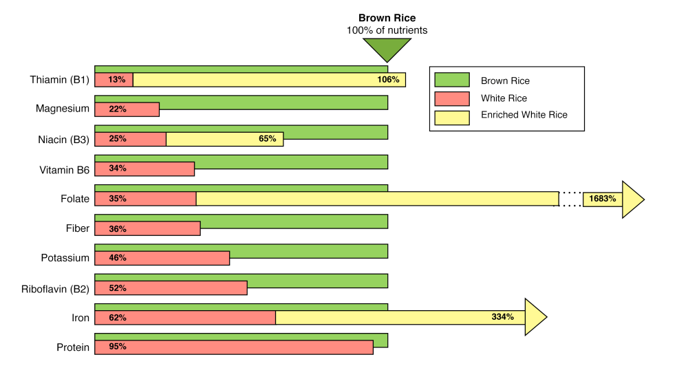 medium resolution of chart comparing nutrients in white rice vs brown rice