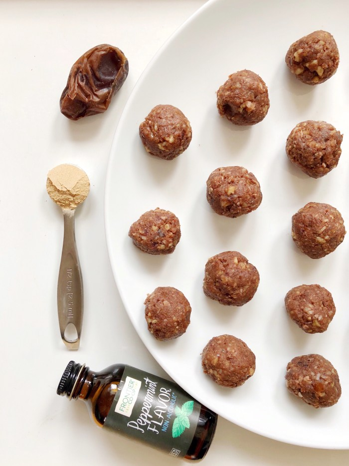 healthy treat or snack protein fat balls with plant based protein, walnuts, dates, maca, cacao, coconut oil and more