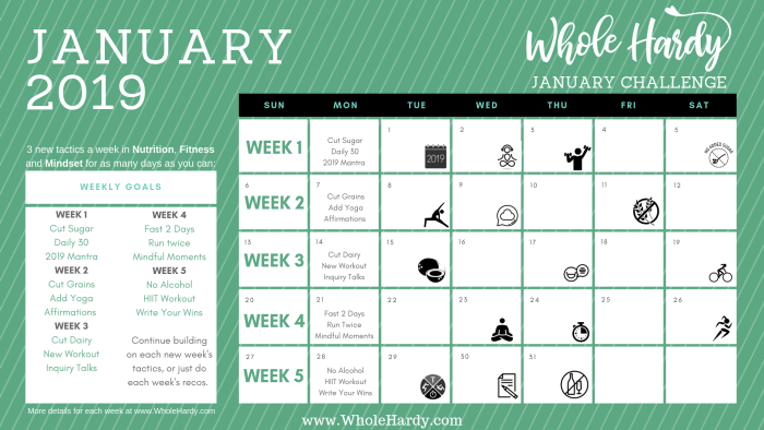 JANUARY 2019 HEALTH CHALLENGE CALENDAR New Years resolution goals nutrition fitness mindset