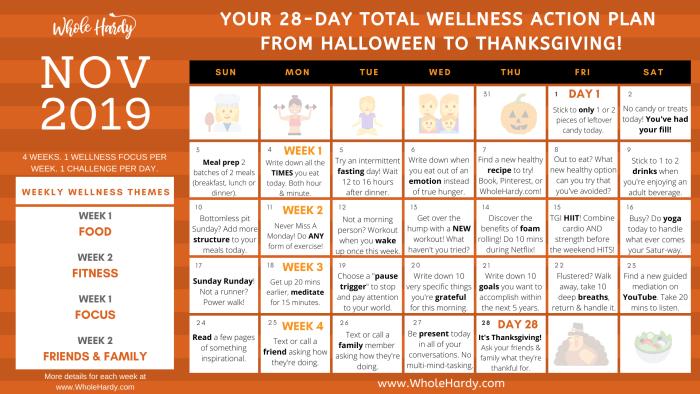 total wellness action plan health challenge daily calendar 28 day challenge halloween detox fall wellness thanksgiving diet