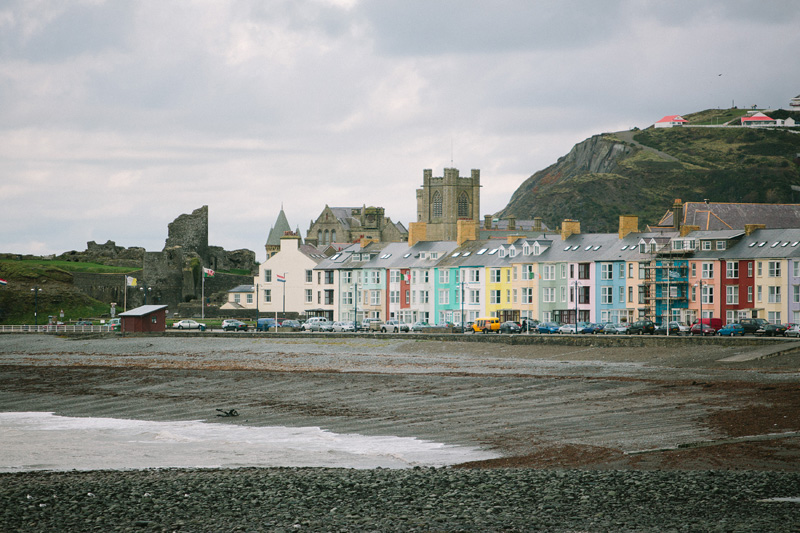 aberystwyth beach and coloured houses