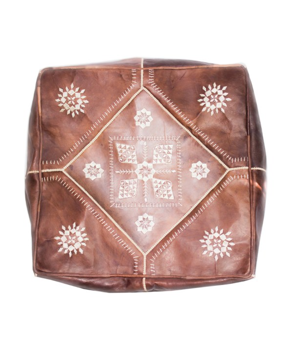 Brown Embroider Square Pouf -0
