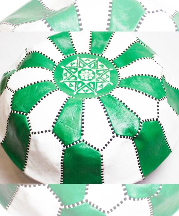 White-Green Mix Pouf-2489