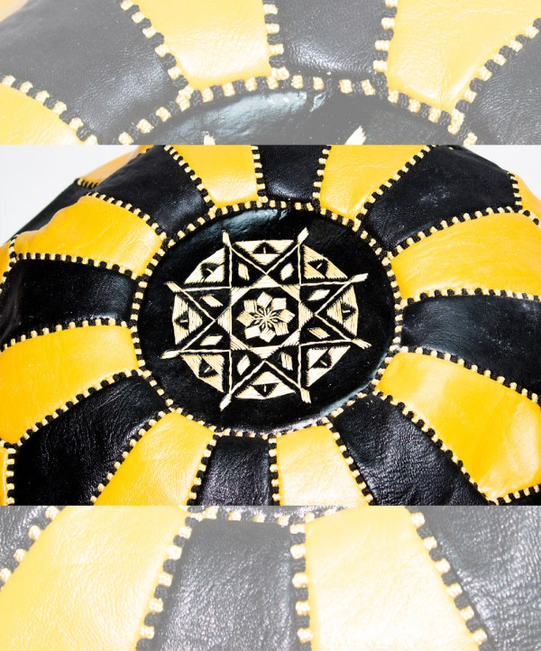 Black-Yellow Mix Pouf-2483