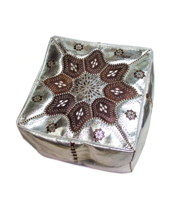 Brown Embroider Square Metallic Pouf -2558
