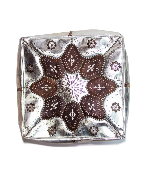 Brown Embroider Square Metallic Pouf -0