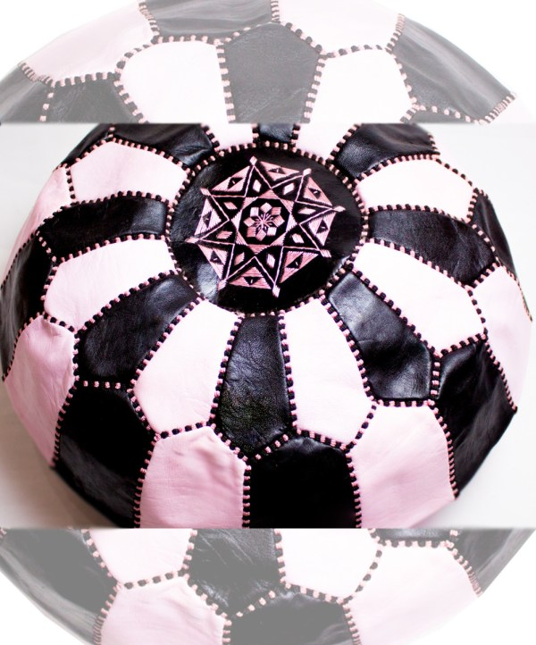 Black - White-pink Mix Pouf-2481