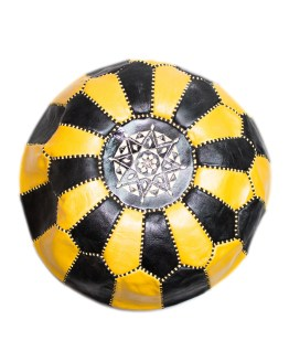 Black-Yellow Mix Pouf-0