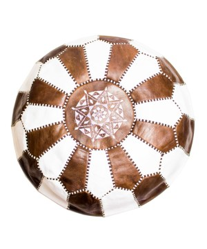 Brown-White Mix Pouf-0
